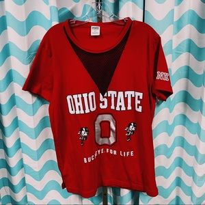 VS Pink Ohio State Fishnet Cut Out Shirt